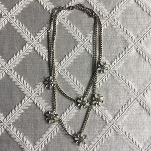 LOFT 2 String silver with Flowers necklace.